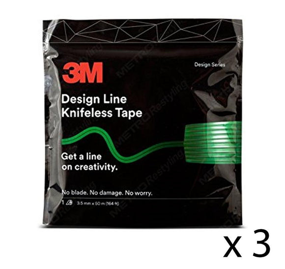 3M Design Line Knifeless Tape KTS-DL1 Green 3.5mm x 50m x 3 Rolls