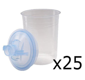 3M 16312 PPS Half Box 25 Mini Lids & Liners 400ml 125 Micron Filter Plus 10 Caps