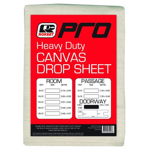 Rokset Pro Heavy Duty Canvas Drop Sheet 12 x 12 Feet 3.65 x 3.65 Metres