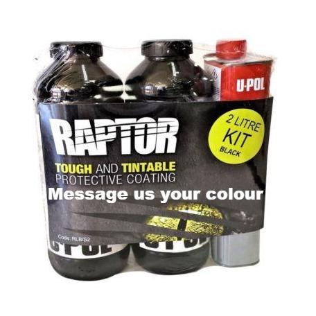 U-Pol Raptor Tintable (Choose Your Colour) Protective Coating Tub/Bed Liner Kit 2L