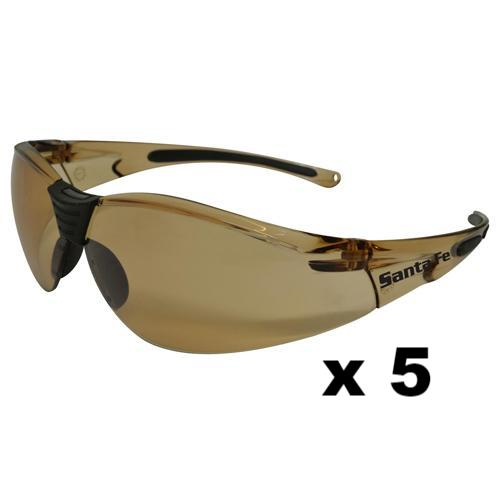 Maxisafe Santa-Fe Safety Glasses AS/NZS1337 Anti Scratch Fog Coating Bronze x 5