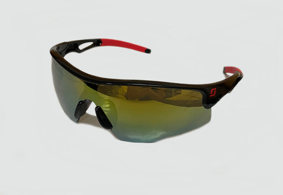 3M Scott Safety S714M Draft Mirror Gold Spectacles Black Red Frame With Tinted Lens Glasses