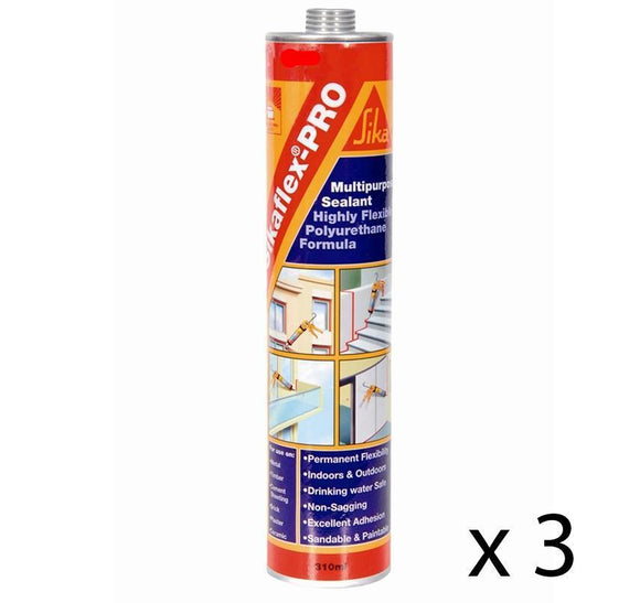 Sikaflex Pro White Polyurethane Multi Purpose Sealant 310ml x 3