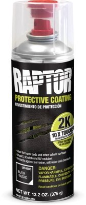 U-Pol Raptor Tough Bedliner Black Protective Coating 2K Component Aerosol 400mL