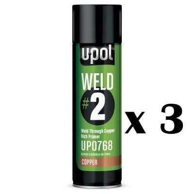 U-POL WELD #2 WELD THROUGH COPPER RICH PRIMER U-POL CAR BODY REPAIR x 3