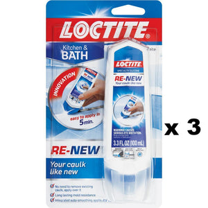 Loctite White Renew Silicone Bathroom Kitchen Seals 100ml x 3