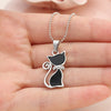 Silver Plated Rhinestones Crystal Cute Cat Pendants Necklaces. - Fibermerix - Chic