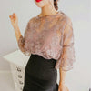 Women 2pcs. Crochet Lace Trumpet Sleeves. Wild Embroidered Chiffon O-Neck Dress-Blouse. - Fibermerix - Chic