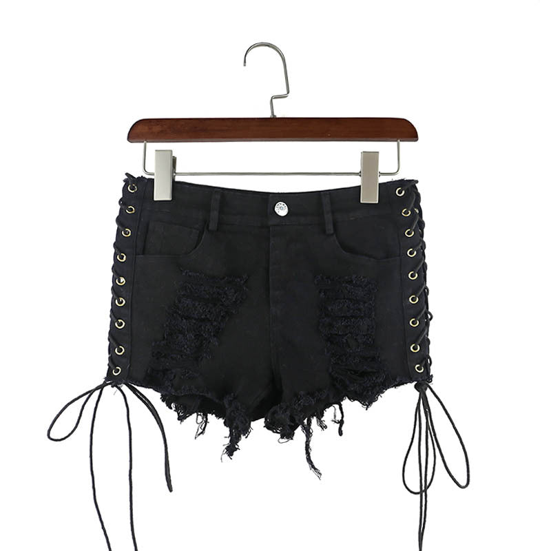 1e188ae035 Summer Women Damaged Lace Up Denim Jeans Shorts. Ripped High-Waist Design Black  Shorts