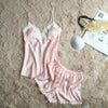 New Pajamas Set for Women. Satin Lace Nightwear Design. - Fibermerix - Chic