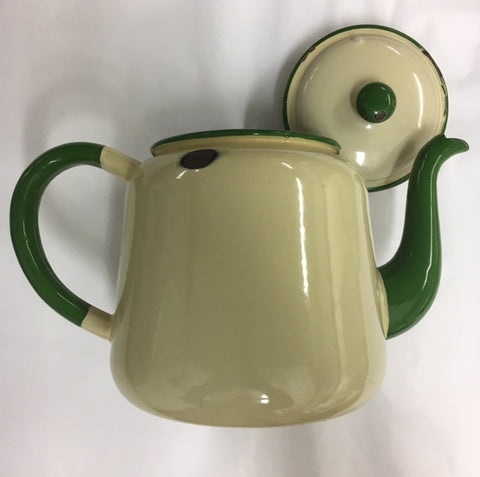 Enamel tea pot in the traditional colours from Sweden of cream with green detailing