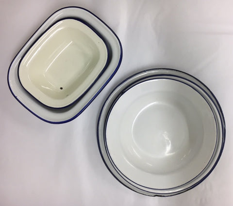 White with a blue rim enamelware is traditionally from England