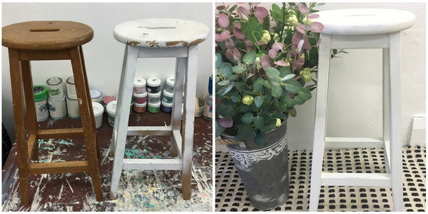 Painted stools, before and after