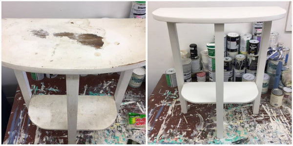 Painted white side table before and after