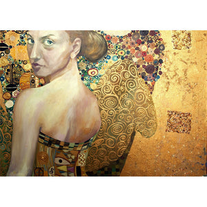Beautiful Woman in Gold Decoupage Paper
