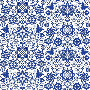 30.5 x 30.5 Rice Paper - Blue Glass Ornate