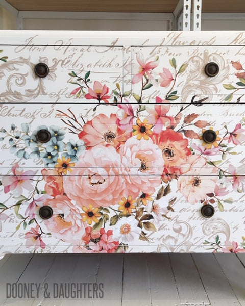 Commission - Rose Celebration Dresser & Drawers