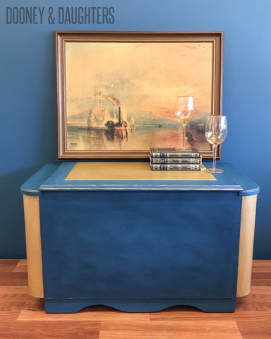French Navy Art Deco Blanket Box