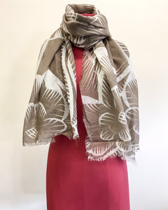 Linen with White Flowers Scarf