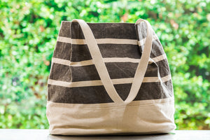 Striped Medium Tote in Grey