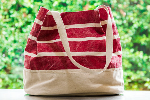 Striped Medium Tote in Red