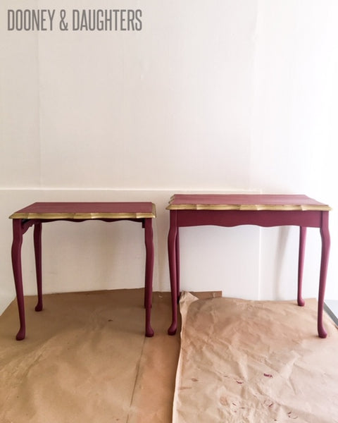 Red and Gold Painted Side Tables