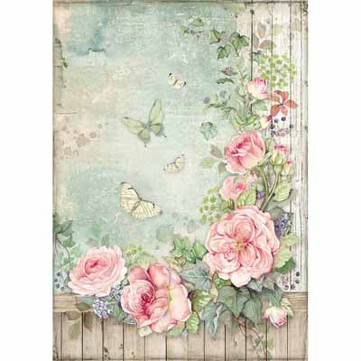 A4 Rice Paper - Roses Garden with Fence