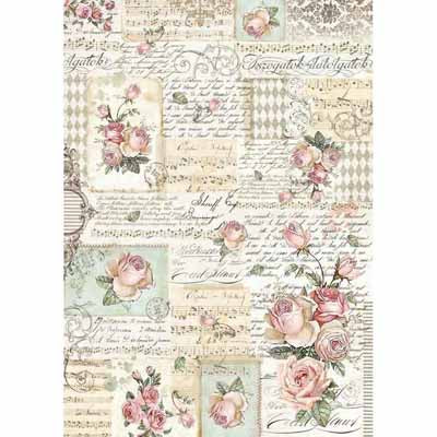 A3 Rice Paper - Roses with Manuscript