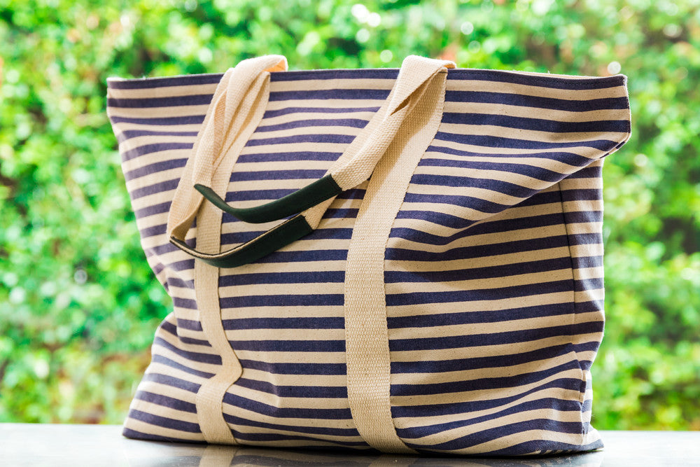 Striped Large Tote in Blue