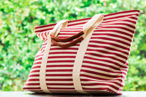 Striped Large Tote in Red
