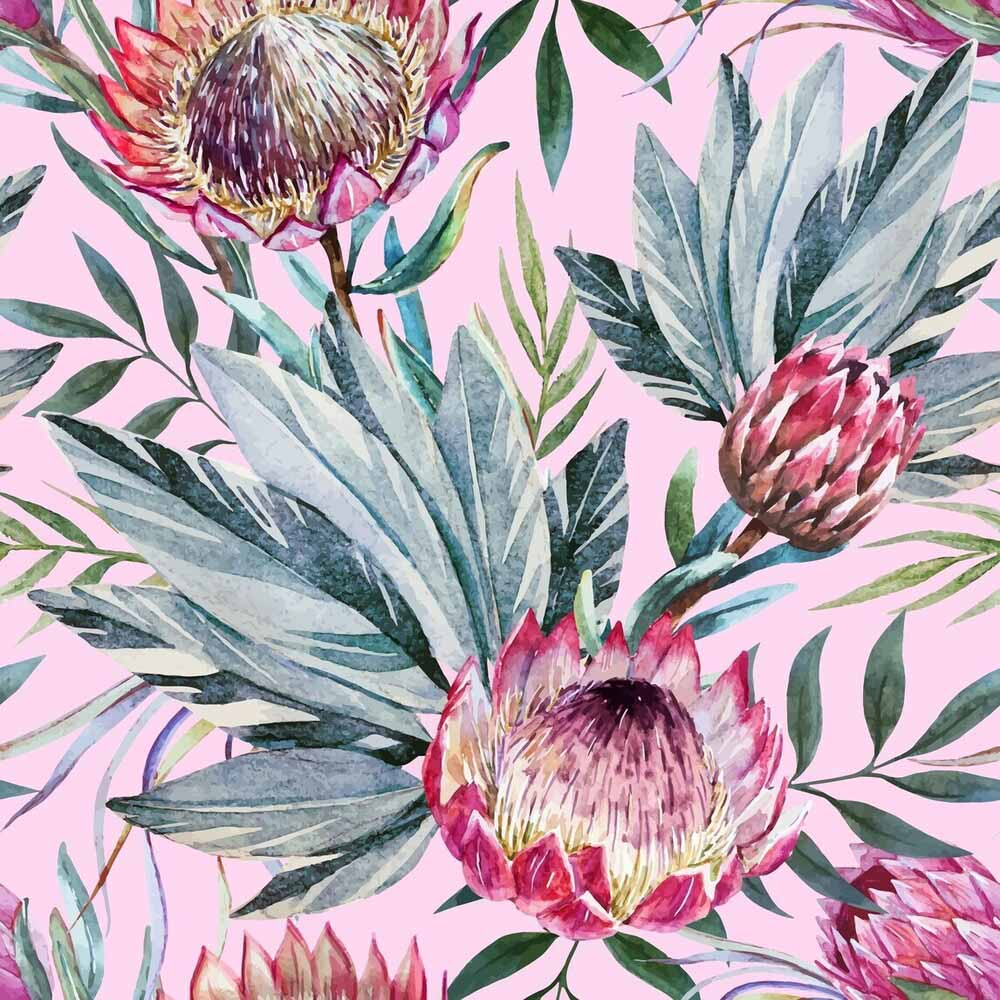30.5 x 30.5 Rice Paper - Tropical on Pink