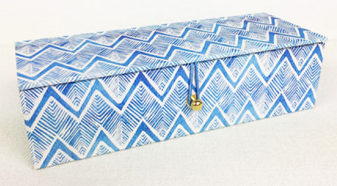 Hand Printed Pencil Box - Indigo Chevron