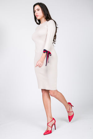 Gucci Inspired Tie Sleeve Trim Dress