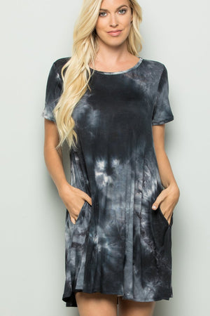 Black and White Tie Dye Tunic Dress
