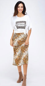 A Tiger Print Slip Skirt