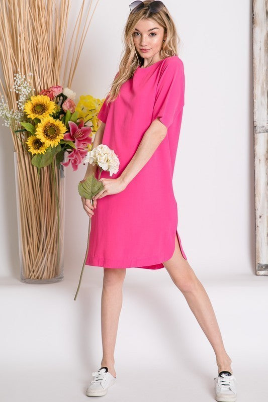 A Summer Lovin' T-Dress (Hot Pink)
