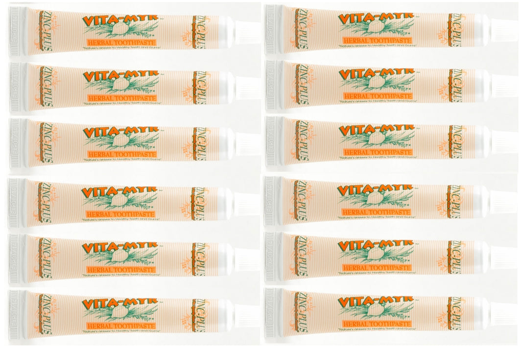 12 Pack of INDIVIDUAL Vita-Myr Travel Size Original Zinc Plus Toothpaste 1 Oz