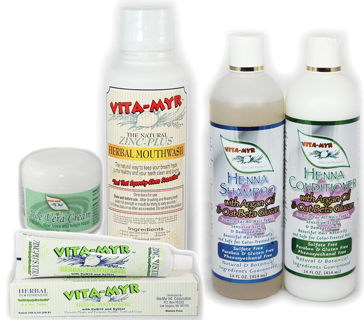 TAKE 5! Vitamyr Henna Shampoo/Conditioner, Mouthwash, Toothpaste, Aloe Vera Cream