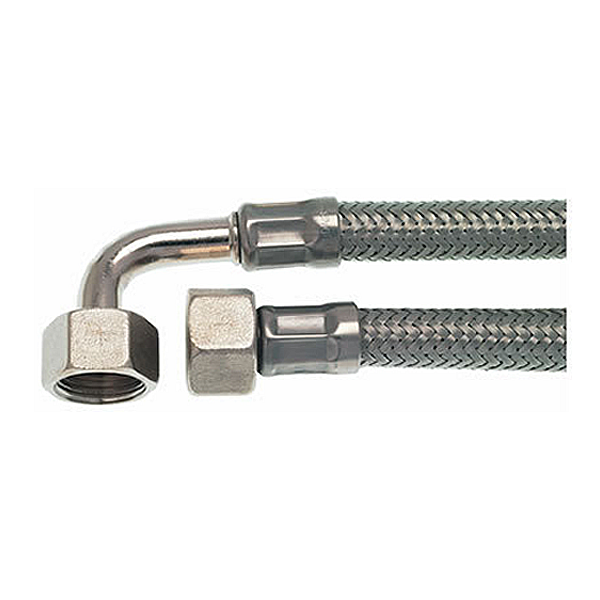 "3/8"" F X 3/8"" F BSP 0.4m (16"") Stainless Steel Flex Hose with Elbow - Coffee Addicts Canada"