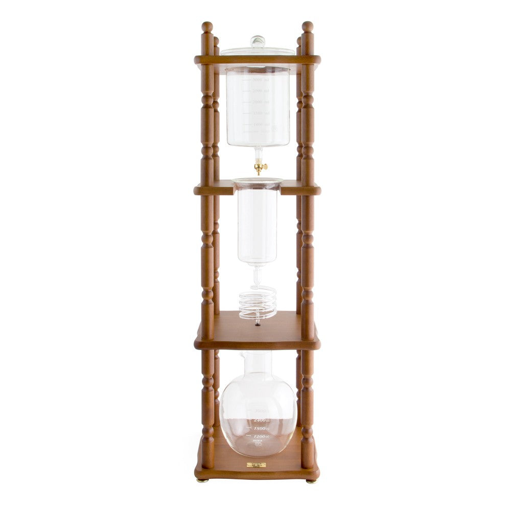 Yama Glass 25 Cup Cold Drip Maker Curved Brown Wood Frame (Special Order) - Coffee Addicts Canada
