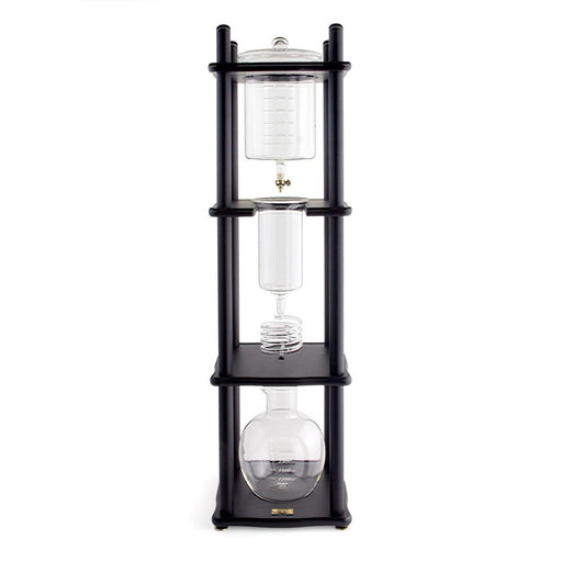 Yama Glass 25 Cup Cold Drip Maker Straight Black Wood Frame - Coffee Addicts Canada
