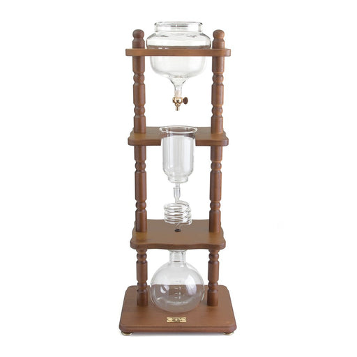 Yama Glass 6-8 Cup Cold Drip Maker Curved Brown Wood Frame - Coffee Addicts Canada