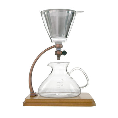 Yama Glass Silverton Brewer with Wood Base and Copper Accents - Coffee Addicts Canada
