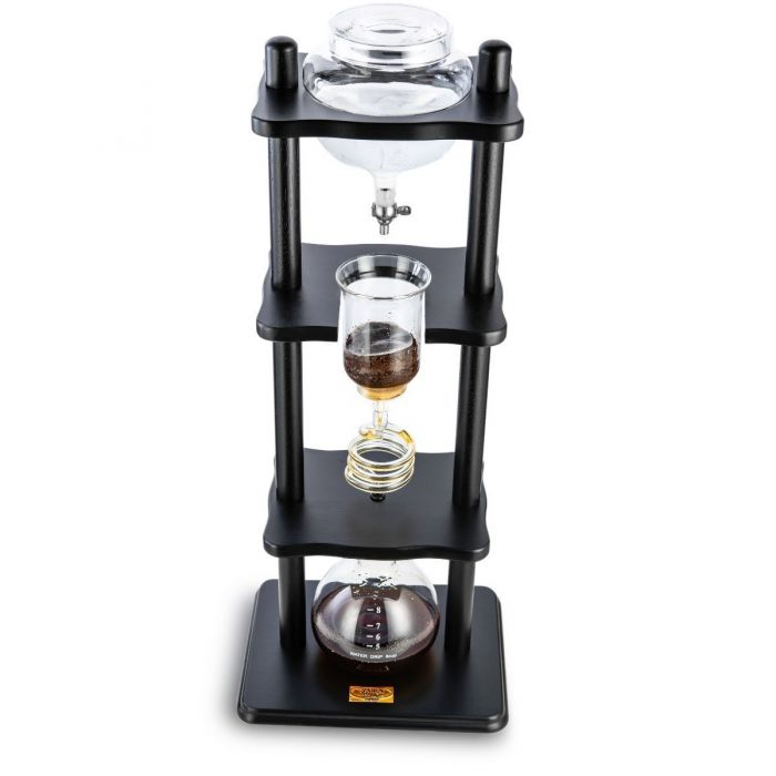 Yama Glass 6-8 Cup Cold Drip Maker Straight Black Wood Frame