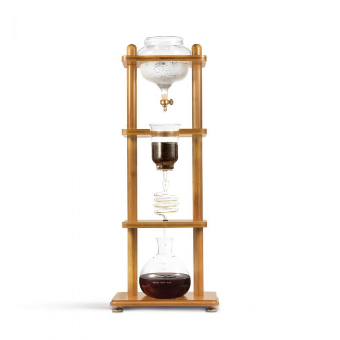 Yama Glass 6-8 Cup Cold Drip Maker Straight Bamboo Wood Frame