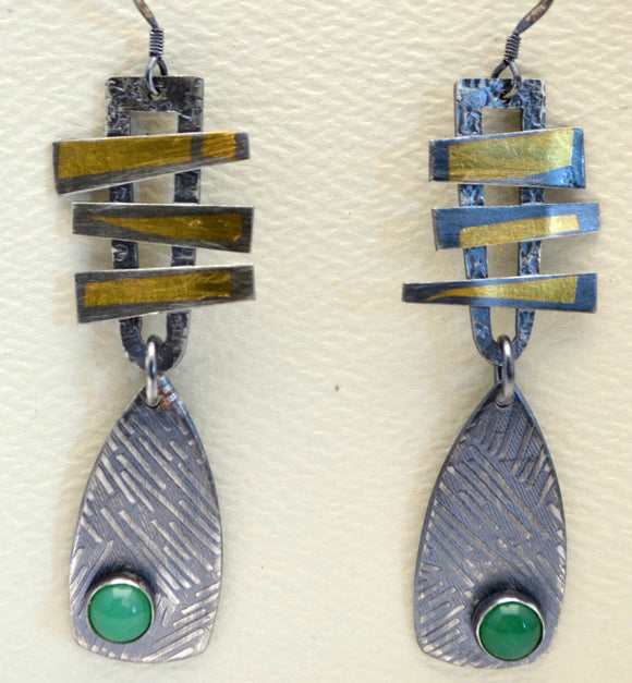 Sterling Silver and Kembu Earrings with Chrysoprase