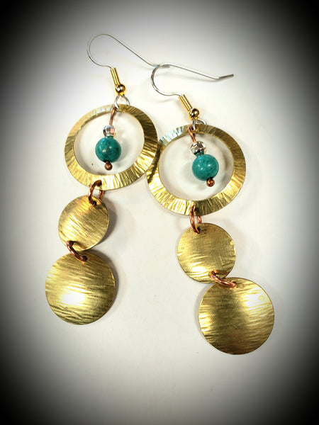 July 31st - Brass and Turquoise Dangles