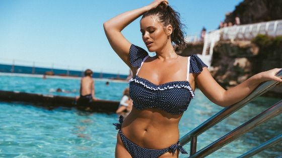 Navy and White Dots Frill Bandeau Bikini Top