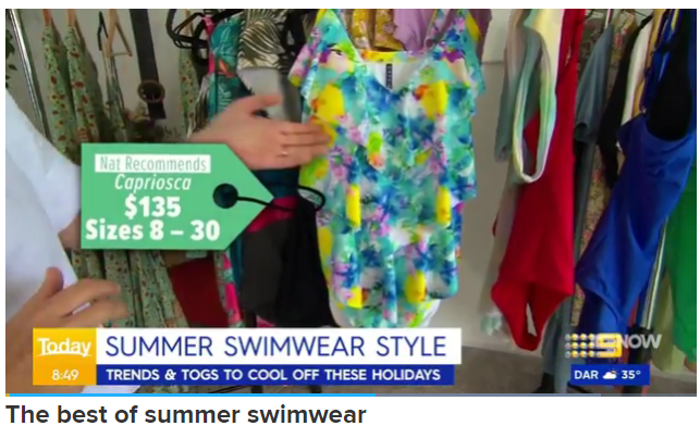 Screenshot of our tankini on the Today Show