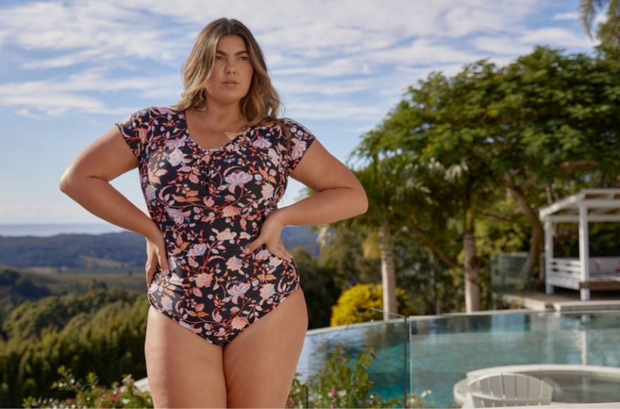 Corsica floral short sleeve tie front one piece swimsuit